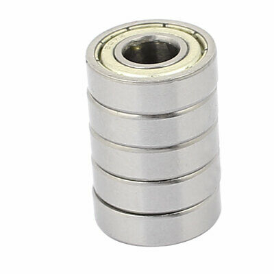 5Pcs Metal Deep Groove Sealed Shielded Ball Bearing 7mmx17mmx5mm Silver Tone