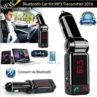 New LCD Bluetooth Car Kit MP3 FM Transmitter SD USB Charger Handsfree For IPhone