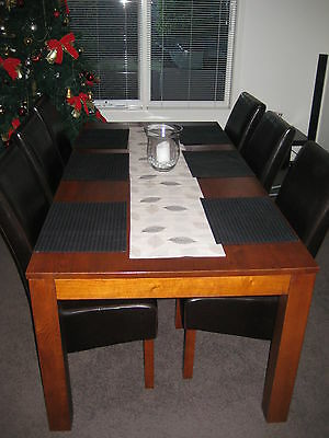 7 Piece Dining Setting Timber Table & 6 Matching Leather Chairs