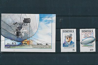 LF61674 Dominica  Ferdinand von Zeppelin aviation fine lot MNH