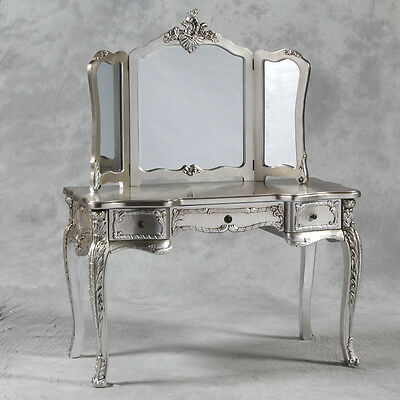 Large Antique Silver Vintage Shabby Chic Style Dressing Table