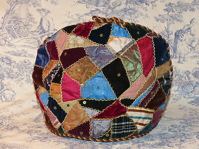 Antique Late Victorian Patchwork Tea Cosy - Jazzy Patchwork Tea Cosy - Grt Cond
