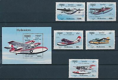 LF61870 Cambodia 1992 aviation aircraft airplanes fine lot MNH