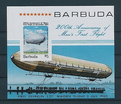 LF62006 Barbuda imperf aviation aircraft zeppelins good sheet MNH