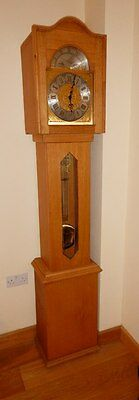 Emperor Grandfather Clock with Handmade Oak Case. 1/4 Hour Chime