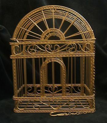 Vintage Small Gold Tone Brass Bird Cage House with Hanging Chain