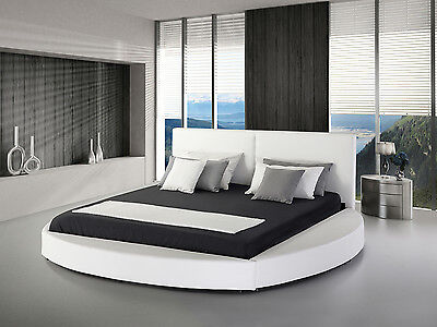 Bed Super King Size bed frame 180x200 cm Leather Round White