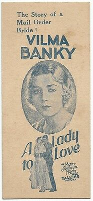 A LADY TO LOVE 1930 Vilma Banky promotion bookmark India