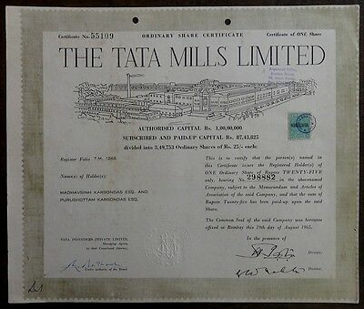 India 1956, 1965 & 1974 THE TATA MILLS LTD. share certificates (3)