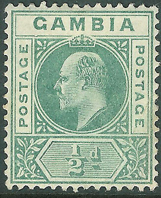 """Gambia 1902 green 1/2d """"dented frame"""" mint SG45a"""
