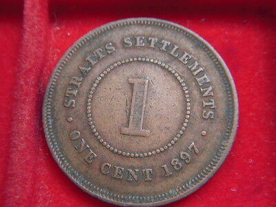 1897 Victorian One Cent Coin From The Straits Settlements [D60]