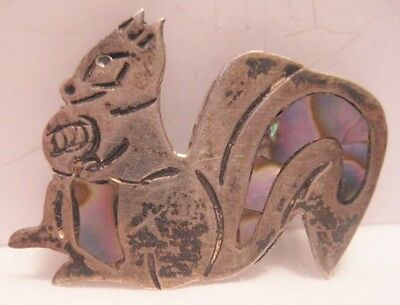 Wonderful Antique Sterling Silver Squirrel Pin w Abalone Shell Inlay 1930