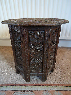 Ornately Carved Antique Hardwood Indian Folding Octagonal Side Table Circa 1900