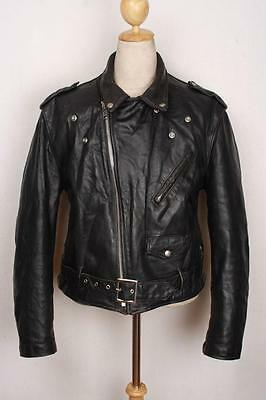 Vtg 70s SCHOTT PERFECTO Black 618/118 Leather Motorcycle Jacket Size 46