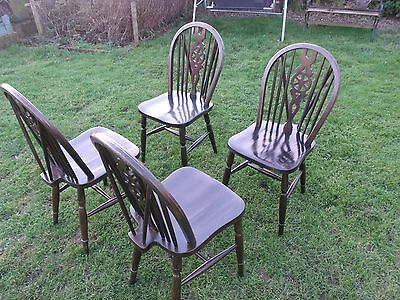 Set of 4 wheel-back solid wood Cottage Dining/Kitchen chairs