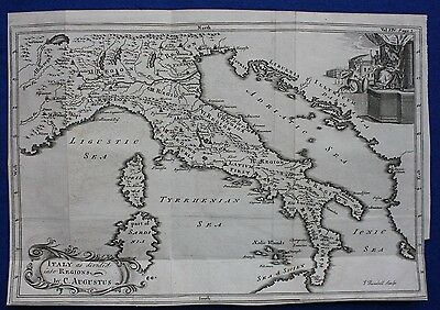 Original antique map 'ITALY AS DIVIDED INTO REGIONS BY C AUGUSTUS' Blundell 1747