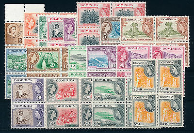 Dominica 1954 Definitives Sg140/158 Blocks Of 4 Mnh