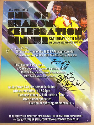 AFC Wimbledon end of season dinner A4 poster signed by Bobby Gould 2013