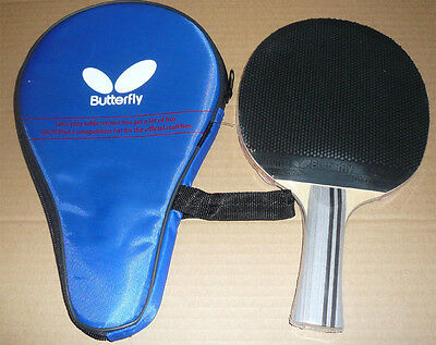 Short Pips-out Butterfly Table Tennis Paddle / Bat with Case: TBC-403, New, UK