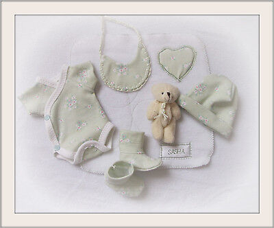 """Sasha Baby doll 10 - 12"""" OOAK / REBORN - 7 piece outfit doll"""