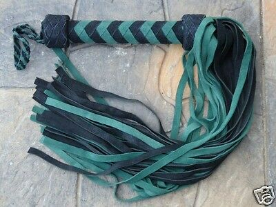 New GREEN HORNET Leather Flogger Suede - GOTHIC - HORSE TRAINER WHIP - VERY NICE