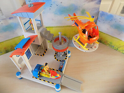 Fireman Sam Ocean Rescue Playset + Helicopter + 3 figures