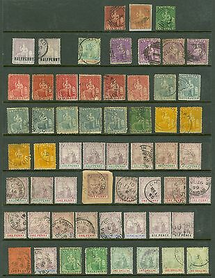 Early Trinidad Britannia heads. Mint & used on 2 stock cards. Condition mixed...