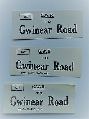 3 Different Small Great Western Railway (Gwr) Luggage Labels To Gwinear Road