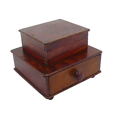 ~ Antique Primitive Grain Painted 2-Tiered Sewing Box ~ AAFA ~