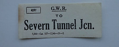 Small Great Western Railway (Gwr) Luggage Label To Severn Tunnel Jcn.