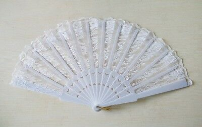 Spanish White Lace Silk Folding Up Hand Held  Fan For Party Wedding.
