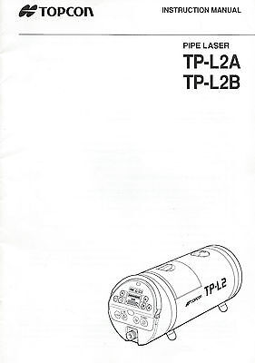 New Topcon Pipe Laser TP-L2A/L2B Instruction Manual
