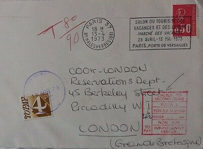 Great Britain 1973 Underpaid Cover From France With Postage Due Cachet Error