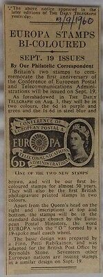 Great Britain 1960 Original Press Clipping For New Issue Europa Stamps