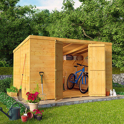 Wooden Shed Garden Bike Tongue Groove Pent Storage Pressure Treated 4x6ft NEW