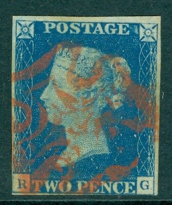 SG 5 1840 2d Blue plate 2 Lettered RG very fine used with a Red Maltese cross