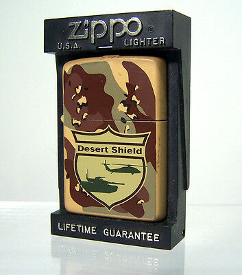 Unfired Zippo Lighter Desert Shield Camo Finish with Tank & Helicopter ~ 1991