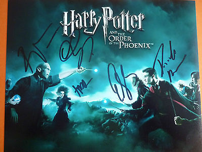 Harry Potter film photo hand signed by 4 10x8