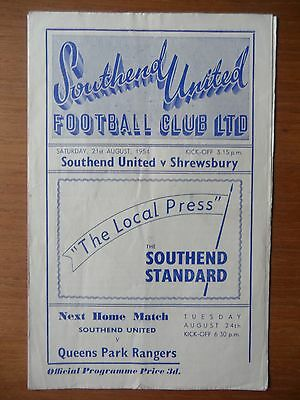 SOUTHEND UNITED v SHREWSBURY TOWN 1954-1955 Division 3 South