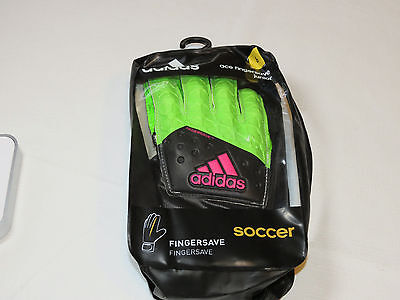Adidas Ace Fingersave Junior Soccer Gloves AH7816 size 6 neon green black pink
