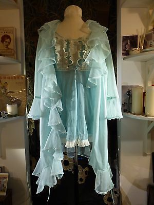 Vintage 60's 70's Sexy Baby Doll Turquoise Night Dress Dressing Gown Nylon Small
