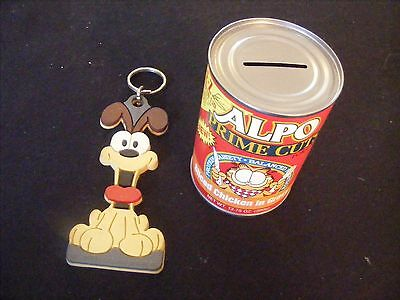 Vintage Lot 2 - Garfield & Odie Items - Alpo Cat Food Coin Bank & 1978 Key Chain