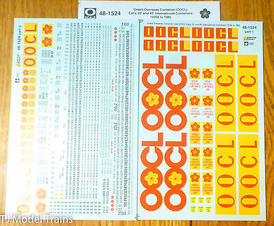 Microscale Decal O #48-1524 Orient Overseas Container Line (OOCL) Early 20' 40'