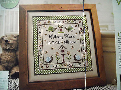 Welcome To The World Traditional Style Birth Sampler For Baby Cross Stitch Chart