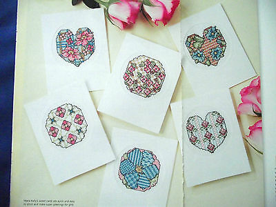 Textile Treats  Selection Of Patchwork Hearts & Flowers Cards Cross Stitch Chart