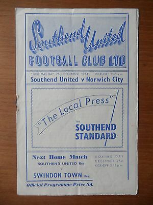 SOUTHEND UNITED v NORWICH CITY 1954-1955 Division 3 South Christmas Day
