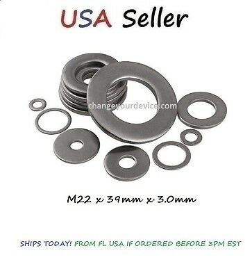 Stainless Steel Flat Washer M22 x 39mm x 3.0mm 304 18-8 A2 SHIPS TODAY!