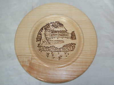Turned English Ash wood bowl platter & hand drawn pyrography rural scene picture