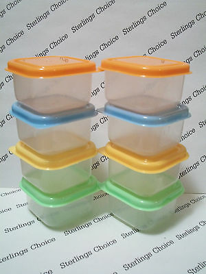 8 Mini Plastic Pastels Square Storage Containers Great for Foods, Crafts