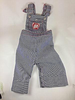 Vintage The Pennsylvania R.R. Logo Baby 24 Month Striped Engineer Overalls